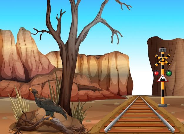 Trilha do trem através dos canyons