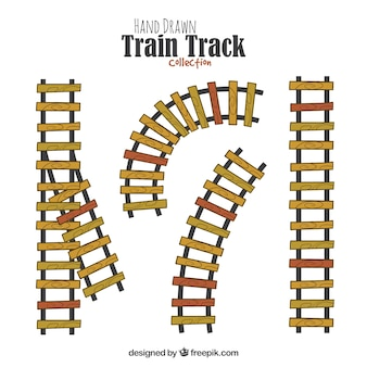 Trilha do trem desenhada mão