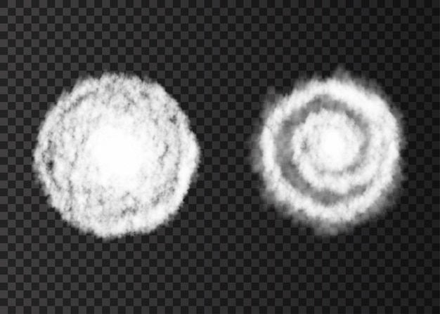 Trilha espiral de fumaça branca isolada em fundo transparente