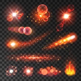 Trilhas brilhantes de luz vermelha de cometas e estrelas cadentes