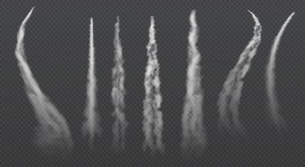 Trilhas de condensação de avião. conjunto de vetores isoladas de fumaça trailing de jato