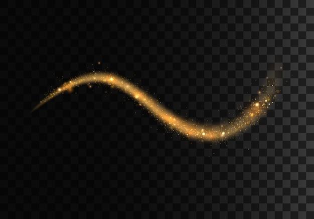 Trilhas de luz cintilantes douradas sobre fundo azul. efeito de linhas brilhantes espiral brilhante. as faíscas amarelas e as estrelas douradas brilham. partículas mágicas de poeira.