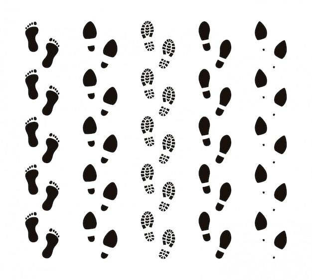 Trilhas de pegada. os passos humanos dos pés descalços, pessoas engraçadas pisam etapas, seguem o conceito, silhuetas negras. conjunto de rotas de pegadas