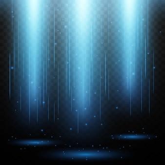 Trilhas longas de efeito de luz mágica brilhante, luzes azuis iluminadas.