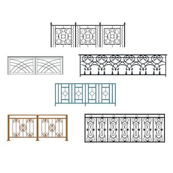 Trilhos curvados de aço com varanda
