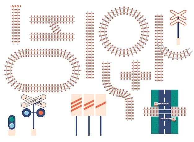 Trilhos de trem retos e curvos, barreira, semáforo e ícones de sinais. curva do trilho de transporte, linhas rodoviárias redondas, cruzadas e retas isoladas no fundo branco. conjunto de ícones de vetor de desenhos animados