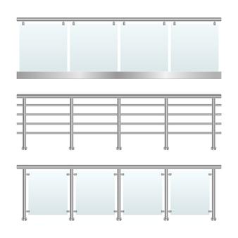 Trilhos de vidro definir ilustração em fundo branco