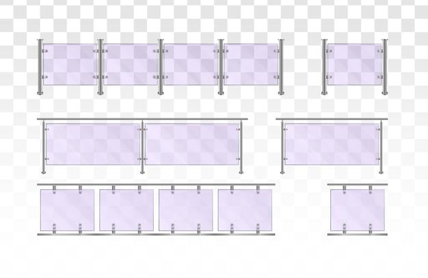 Trilhos de vidro. seção de cercas de vidro com trilhos tubulares de metal e chapas transparentes para escadas de casa, varanda de casa, cercas de calçada.