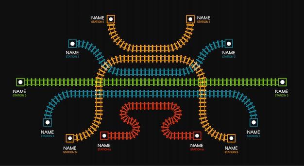 Trilhos, direção ferroviária, trilhos de trem ilustrações coloridas. escadas coloridas, estações de metrô mapeiam a vista superior, elementos infográfico.
