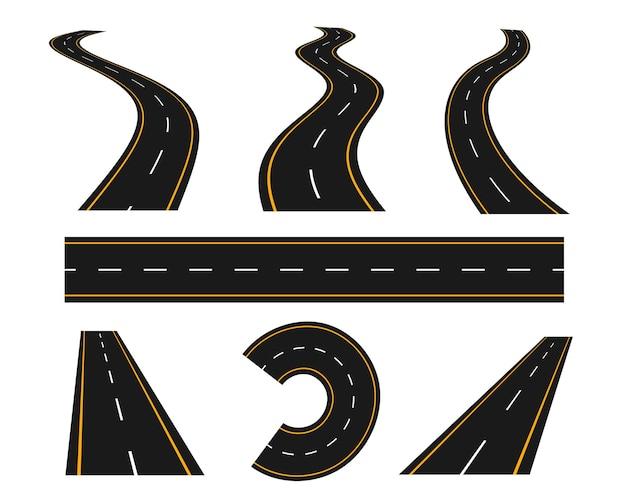 Trilhos e caminho de curva de estrada sinuosa definidos