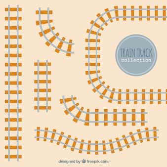 Trilhos ferroviários em projeto plano