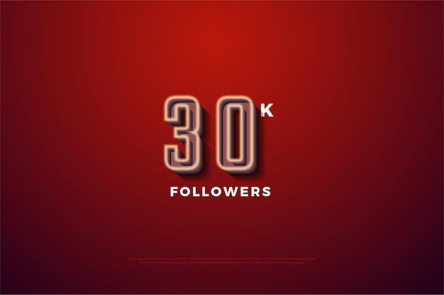 Trinta mil seguidores com listras marrom dourado