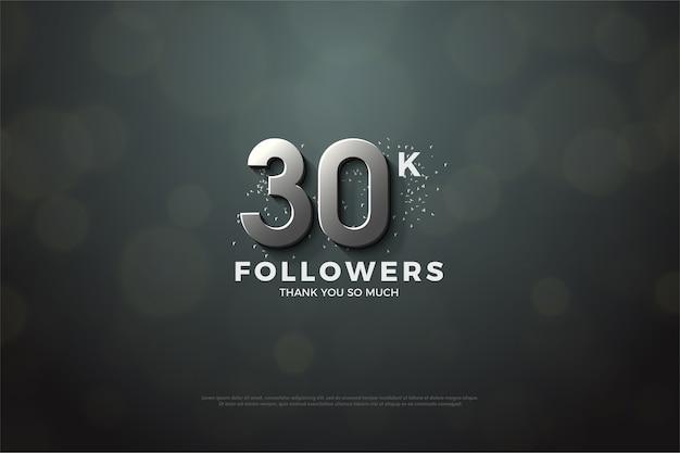 Trinta mil seguidores com números de prata