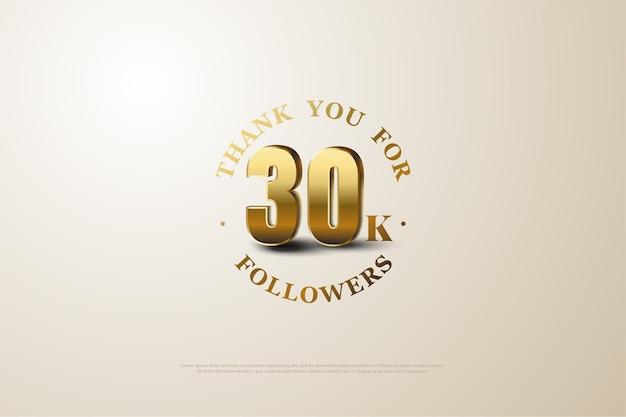 Trinta mil seguidores com números dourados brilhantes