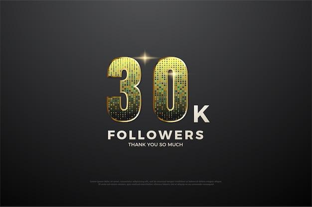 Trinta mil seguidores com números dourados desbotados