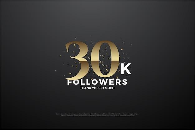 Trinta mil seguidores com números dourados e efeitos de sombra