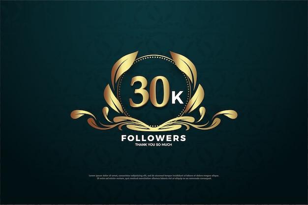 Trinta mil seguidores com números e logotipos interessantes