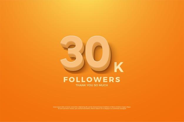 Trinta mil seguidores com números em um fundo amarelo escuro