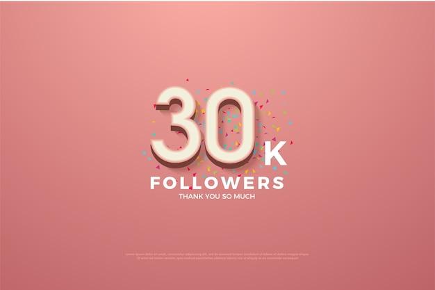Trinta mil seguidores com números em um fundo rosa