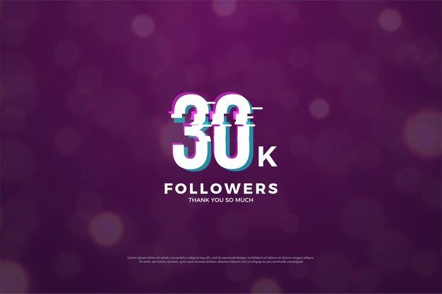 Trinta mil seguidores com números padronizados fatia em paz