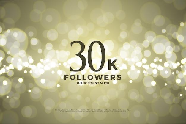 Trinta mil seguidores com um fundo usando folha de ouro