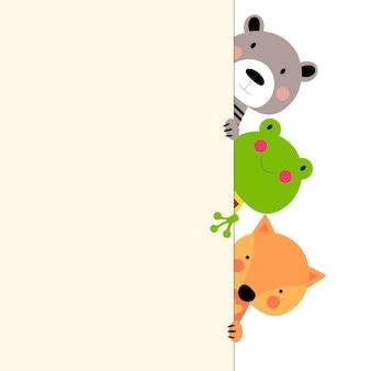 Trio de animais coloridos de desenhos animados