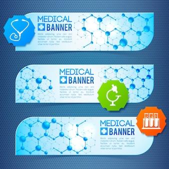 Trio de banners médicos com símbolos e sinais, cápsulas medicinais e estruturas atômicas