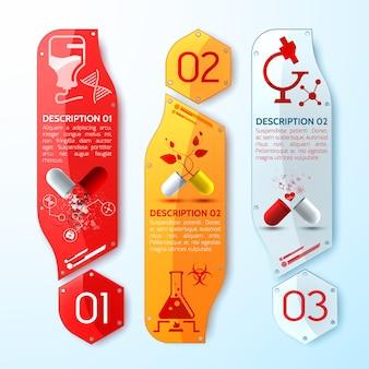 Trio de banners médicos verticais com cápsulas medicinais, folheto informativo e diferentes objetos médicos