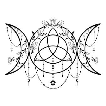 Triple moon triquetra. deusa tripla. neopaganismo
