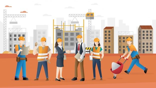 Tripulação de trabalhadores da construção