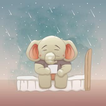 Triste bebê elefante na cama