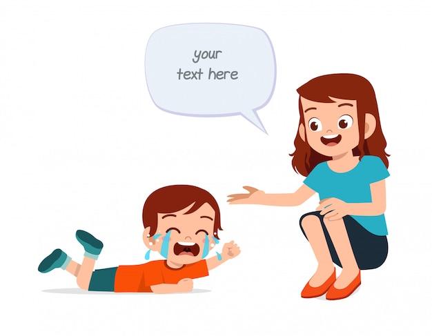Triste choro menino criança com a mãe