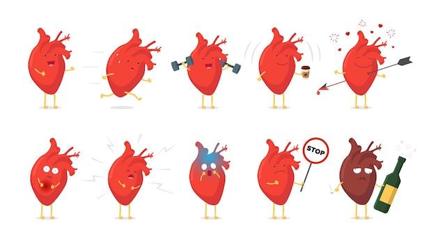 Triste, doente, choro insalubre e saudável, forte, feliz, sorridente, bonito, coração, conjunto de caracteres médico, humano