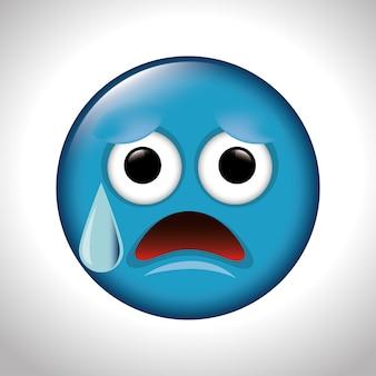 Triste e angustiante cara emoticon ilustração em vetor eps 10