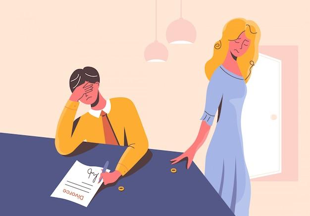 Triste homem assinar os documentos do divórcio à mesa e mulher decepcionada, tirando o anel de casamento. casal infeliz em desgosto. ex-marido e ex-mulher separados. situação estressante em família.