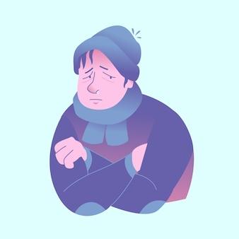Triste homem com gripe