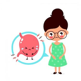 Triste jovem doente com caráter de estômago de intoxicação alimentar. ícone de ilustração plana dos desenhos animados. isolado no branco trato digestivo, estômago, dor de estômago, dor, enjoo, dor