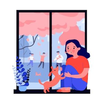 Triste menina doente com gripe, olhando para a janela