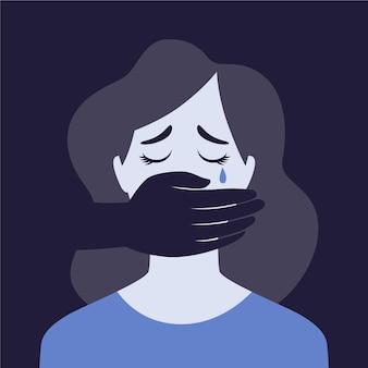 Triste mulher representando o conceito de violência de gênero