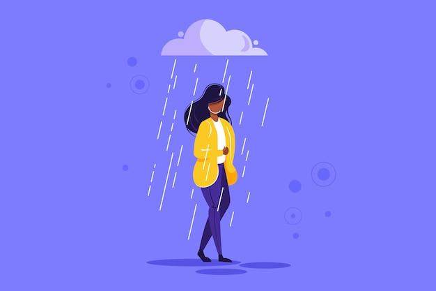 Triste personagem feminina em pé sob a chuva