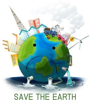 Triste poluído salvar o cartaz da terra