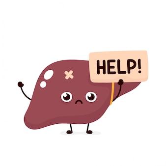 Triste sofrimento doente bonito fígado humano órgão pede ajuda personagem. cartoon plana ilustração ícone do design. isolado no fundo branco. sofrendo conceito de caráter doentio fígado