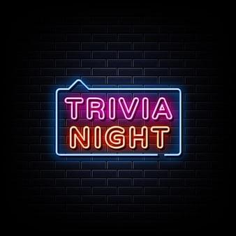 Trivia night neon signs style texto em um fundo de parede preto