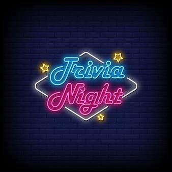 Trivia night sinais de néon estilo texto vetorial