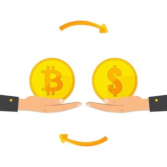 Troca de bitcoin. troca de moeda digital