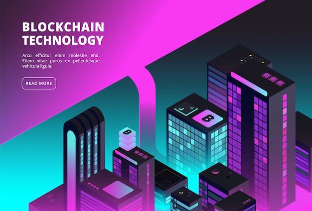 Troca de blockchain e bitcoin com edifícios inteligentes da cidade. Vetor Premium