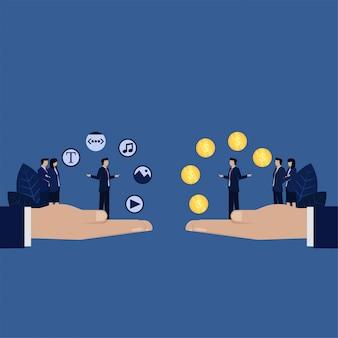 Troca de conteúdo da web de negócios com sites de conteúdo de venda de dinheiro.