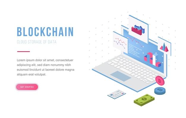 Troca de criptomoeda e blockchain isométrico