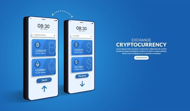 Troca de criptomoedas online por smartphone, transação de pagamento em moeda digital via aplicativo