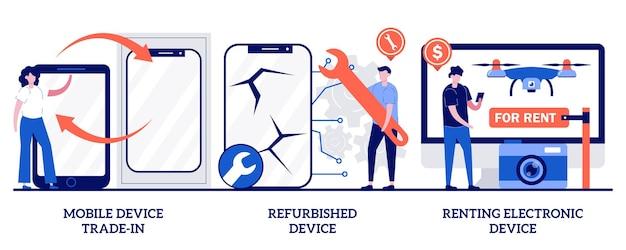 Troca de dispositivo móvel, dispositivo recondicionado, conceito de dispositivo eletrônico de aluguel com pessoas minúsculas. manutenção de dispositivo portátil, serviço de reparo, conjunto de ilustração vetorial abstrato de troca de smartphone antigo.